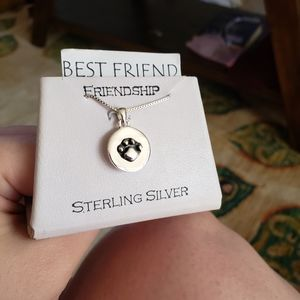 NWT Sterling silver 925 pendant necklace - puppy dog paw print best friend